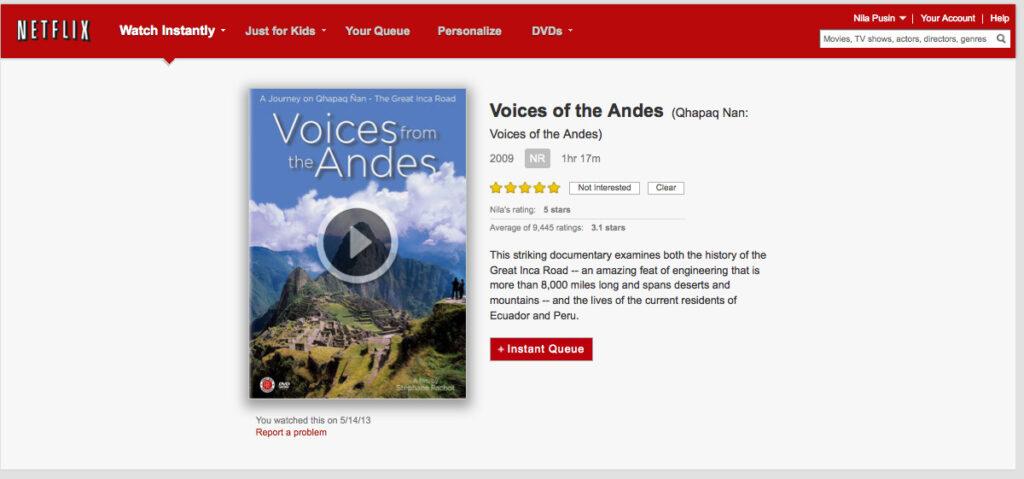 La voix des Andes sur NETFLIX